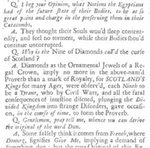 Curse of Scotland - Extract from British Apollo of 1708