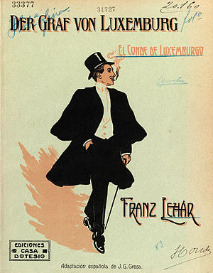 Der Graf von Luxemburg - Cover of the vocal score for the Spanish version of Der Graf von Luxemburg
