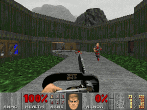 "Doom (1993 video game) - ""Episode I: Knee-Deep in the Dead"" takes place in the research, industrial and military facilities on the surface of Phobos. In the screenshot, the player armed with a chainsaw confronts a basic zombie marine on a bridge over a chemical waste storage"