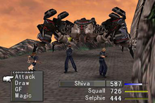 Three characters in a battle with a monster which resembles a mechanical spider. A gray menu at the bottom of the image shows the characters' health and bars representing the time left until they can act.