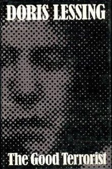 Front cover of the first UK edition of The Good Terrorist showing the author's name and book title, and a heavily pixelated picture of a woman's face