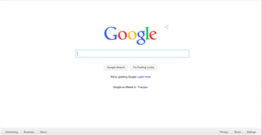 2015年のGoogleホームページのスクリーンショット