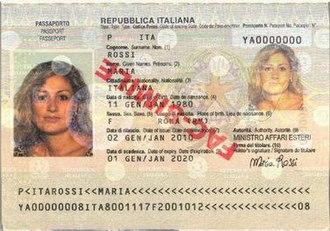 Italian passport - The biodata page of an Italian biometric passport