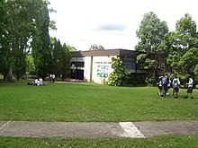 Looking towards the school from the front lawns, shows the administration block (Tagore) and surrounds