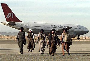 Indian Airlines flight 814 hijacking - Taliban militia in front of the hijacked plane.