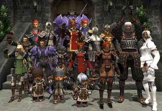 "Massively multiplayer online game - A group photo of a ""Linkshell"" guild in the roleplaying game Final Fantasy XI."