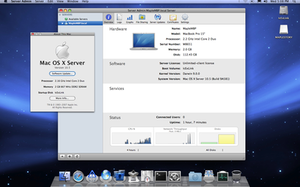 MacOS Server - The Mac OS X Leopard Server running Server Admin on Desktop