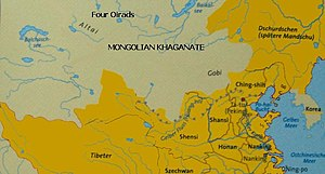 Öljei Temür Khan - Post-Imperial Mongolia in the early 15th century, surrounded by the Ming Empire and its tributaries.