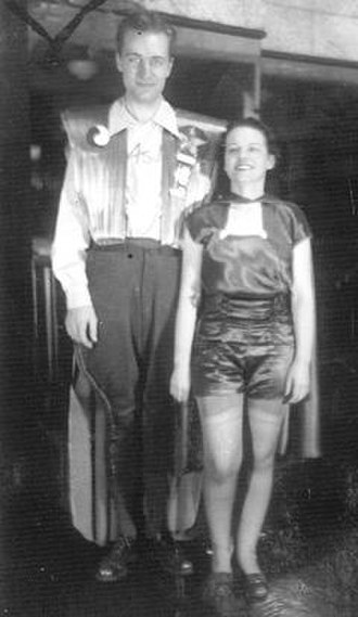 "Forrest J Ackerman - Ackerman and Morojo at the 1st Worldcon (1939, NYC), in the ""futuristicostumes"" she created for them"
