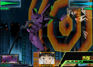 Neon Genesis Evangelion (video game) - Scene from the game, showing Shinji in Unit 01 fighting Sachiel. For most of the game the player controls Unit 01.