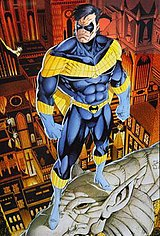 Nightwing's second costume.  Pencils by Art Thibert.