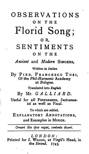 Pier Francesco Tosi - Title plate from the English Translation of Tosi's singing treatise, Observations on the Florid Song, first published in England in 1743.