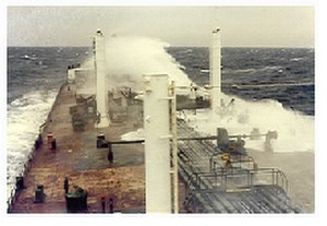 Sailor - The tanker SS Overseas Alice takes seas over the bow during a 1981 run from New Orleans to Panama.