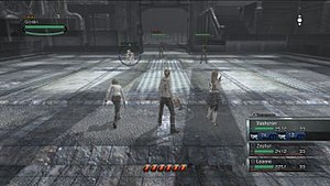 Resonance of Fate - A battle in Resonance of Fate with the Bezel gauges system at the bottom.