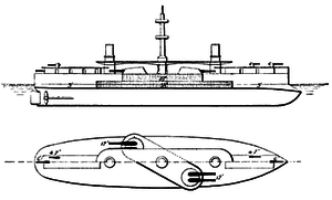 Ruggiero di Lauria-class ironclad - Line-drawing of the Ruggiero di Lauria class