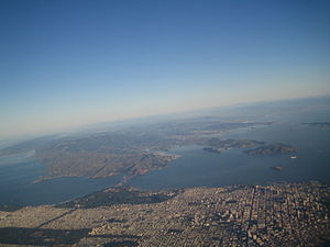 North Bay (San Francisco Bay Area) - San Francisco in the foreground looking north over Marin.