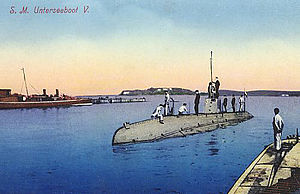 U-5, the lead boat of the U-5 class, as seen in a pre-war postcard
