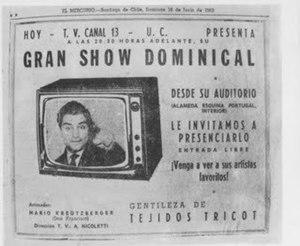 Sábado Gigante - First advertisement of Sabado Gigantes first episode as Show Dominical.