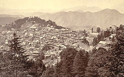 Simla (now Shimla), India, in 1865.  Simla was a  well-known hill station which Kipling visited every summer from 1885 to 1888.  Christ Church is on the right.