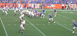 2007 Tennessee Volunteers football team - Tim Tebow prepares to run the spread option offense vs the Tennessee Volunteers.