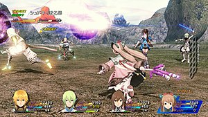 Star Ocean: The Last Hope - Edge, Faize, Reimi and Lymle attacking enemies in Star Ocean: The Last Hope International