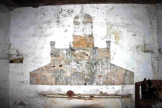 Stoer Head - Mural depicting the east elevation of the Stoer Lighthouse in the Stoer Lighthouse Stores Bothy