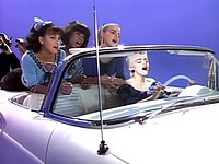 """Madonna in the European version of her song music video """"True Blue""""."""