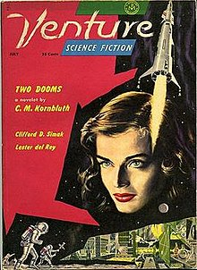 Cover shows a medley of a young woman's face, a space rocket with fire coming out of its tail, humans in space suits, and experimental lab.