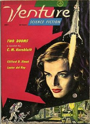 "Venture Science Fiction - July 1958 issue of Venture, the last issue of the magazine's first version. The cover is by Ed Emshwiller, illustrating Lester del Rey's ""Lady of Space""."