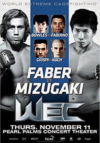 A poster or logo for WEC 52: Faber vs. Mizugaki.