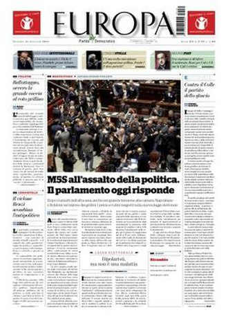 Europa (Italian newspaper) - A Europa front page from Friday 31 January 2014.