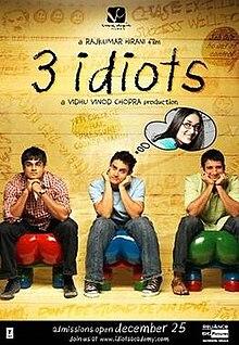 3 IDIOTS (2.009) con AAMIR KHAN + Vídeos Musicales + Jukebox + Sub. Español + Online  220px-3_idiots_poster