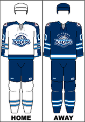 St. John's IceCaps - The jerseys of the St. John's IceCaps, from 2011 to 2015 (while the franchise was owned by the Winnipeg Jets)
