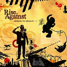 "The cover art for Appeal to Reason, which features various drawings including one of a man in a gasmask and another of a child having their umbilical cord cut. These drawings are atop a yellow background. The words ""Rise Against"" and ""APPEAL TO REASON"" are in the top left corner."