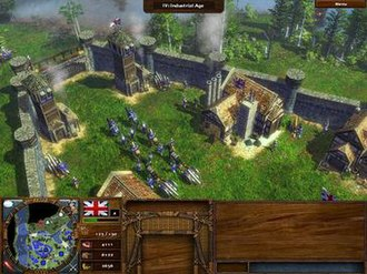 Age of Empires III - A small troop of cavalry, infantry, and cannon departing, headed out to battle.