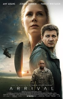 <i>Arrival</i> (film) 2016 American science fiction drama film directed by Denis Villeneuve