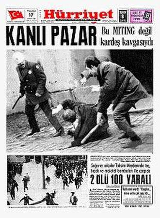 """Bloody Sunday (1969) - Coverage in the Hürriyet of the protest. Kanlı Pazar translates as """"Bloody Sunday""""."""