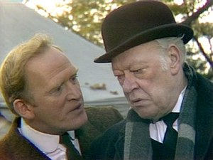 Clive Morton - Gordon Jackson (as Butler Hudson, left) and Clive Morton (as Butler Makepiece) in A Change of Scene (1973)