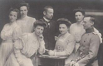 Ludwig III of Bavaria - Princess Adelgunde (1870–1958), Princess Maria (1872–1954), Prince Karl (1874–1927), Prince Franz (1875–1957), Princess Hildegarde (1881–1948), Princess Wiltrud (1884–1975) and Princess Helmtrud (1885–1977).