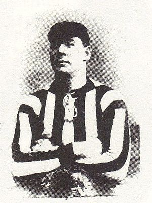 Gillingham F.C. - Fred Griffiths wearing the club's original striped shirt