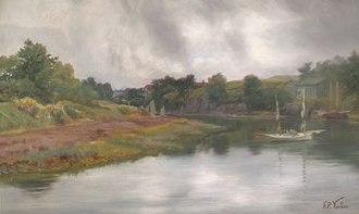"""Frederic Porter Vinton - """"River View, Spring"""" A landscape by Frederic Porter Vinton. Circa. 1880"""