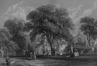Mauchline - A view of Mauchline and the house of Gavin Hamilton in 1840.