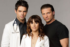 General Hospital: Night Shift - General Hospital: Night Shift stars, 2007. From left-right: Dr. Patrick Drake (Jason Thompson), Dr. Robin Scorpio (Kimberly McCullough), and Jason Morgan (Steve Burton).