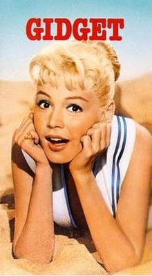 Sandra Dee as Gidget in the 1959 film, (VHS cover)