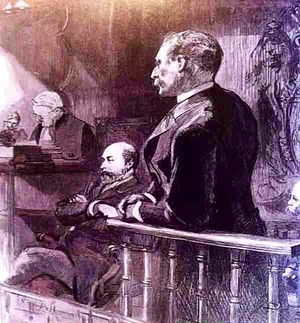 Royal baccarat scandal - Sir William Gordon-Cumming in the witness box, in the presence of Edward, Prince of Wales and others