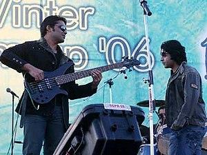Jal (band) -  Jal performing live at Tundikhel, Kathmandu, Nepal, on 15 December 2006: bassist Aamir Tufail (left) and singer Farhan Saeed.