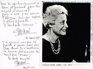Jeanne-Marie Darré - Image: Jeanne Marie Darre 1971 dedicated photo from first of her two acclaimed Southern Africa tours