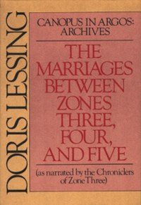 Front cover of the first US edition of The Marriages Between Zones Three, Four and Five showing the author's name and book title on a crimson and sandy brown background