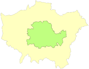 County of London - County of London superimposed upon Greater London