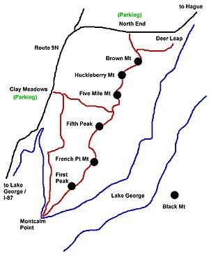Tongue Mountain Range Trails - Sketch map of the Tongue Mt range
